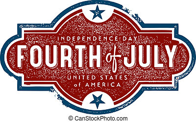 Vintage style Independence Day Stamp Graphic