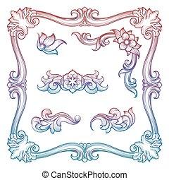 Vintage frame and decorative elements