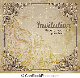 Vintage frame and grunge background. Decorative retro banner.