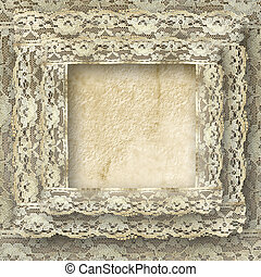 vintage frame card for invitation or congratulation with border lace