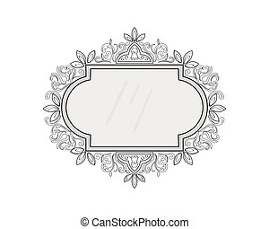 Vintage frame decor. Vector collection of round and square vintage frames, design element