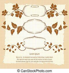 Vintage frame design with floral branches