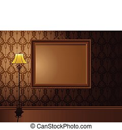 Vintage Frame hanging on wall with antique lamp.