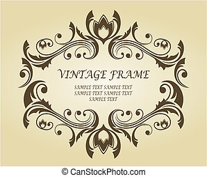 Vintage frame in victorian style for ornate and design