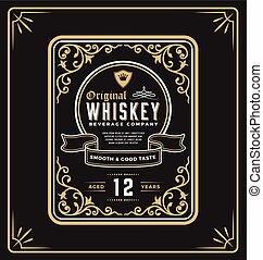 Vintage frame label for whiskey