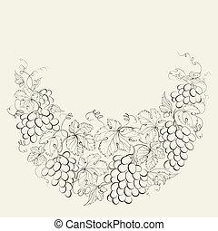 Vintage frame of grape vines. - Hand drawn frame of grape...