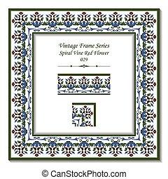 Vintage frame of Spiral Cross Vine Red Flower