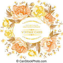 Vintage frame of yellow flowers on a white background.