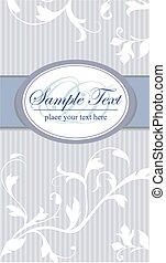 Vintage frame on blue seamless floral background.