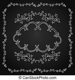 Vintage frame on chalkboard retro background