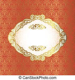 Vintage frame on damask background