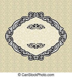 Vintage frame on damask background, vector illustration