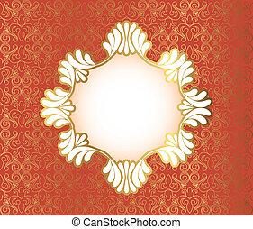 Vintage frame on damask background, vector illustration