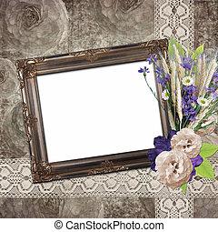 Vintage frame on grange roses background in stile...