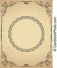 Vintage  frame on grunge backgound. Vector illustration