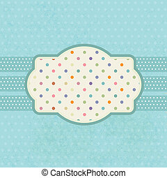 Vintage frame on polka dot background