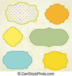 Vintage frame on polka dot background