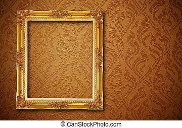 vintage frame on seamless wallpaper