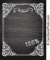 Vintage frame on the chalkboard Decorative retro banner. Can...