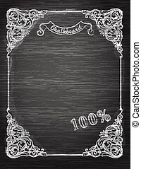 Vintage frame on the chalkboardDecorative retro banner.
