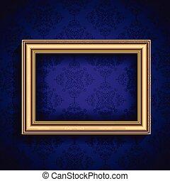 vintage frame on wallpaper background