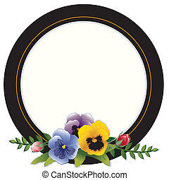Vintage Frame, Pansies and Roses - Round Victorian frame...