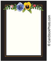 Vintage Frame, Pansies and Roses