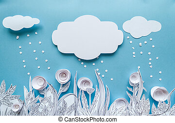 vintage frame, Paper art and origami concept of Flower meadow. White paper flower on blue background