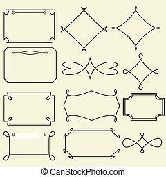 Vintage frame set vector