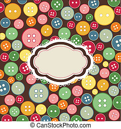vintage frame, sewing buttons background