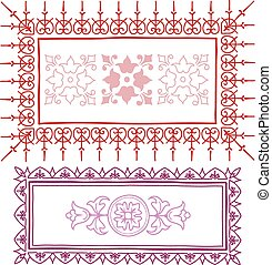 Vintage frame sketch in red and pink