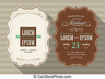 Vintage frame wedding invitation card Template