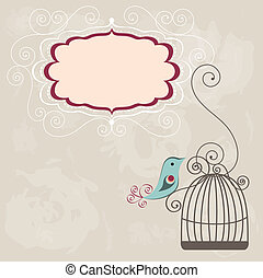 Vintage frame wih birdcage - Beautiful background with frame...