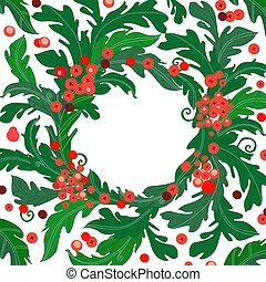 vintage frame with baroque style of green leaves with red berries for your design