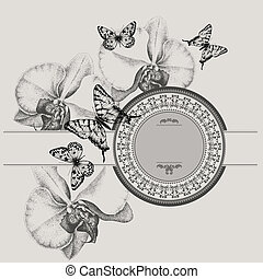 Vintage frame with blooming orchids and butterflies, hand-drawing. Vector illustration.