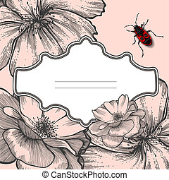 Vintage frame with blooming roses and beetle, hand-drawing. Vector illustration.
