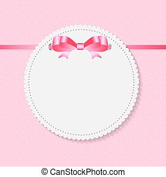 Vintage Frame with Bow  Background. Vector Illustration.