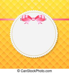 Vintage Frame with Bow  Background. Vector Illustration