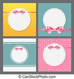Vintage Frame with Bow Set  Background. Vector Illustration