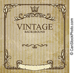 vintage frame with branches and grungy background