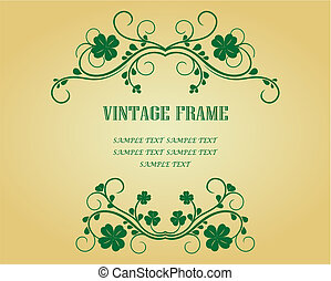 Vintage frame with clover for design as a background