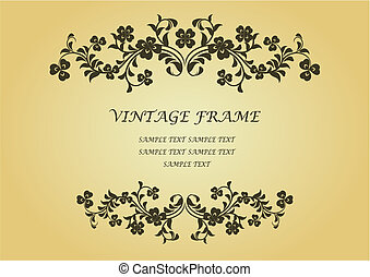 Vintage frame with clover in victorian style for design as a...