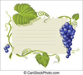 vintage frame with cluster grapes and green leaf vector...