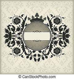 Vintage frame with crown