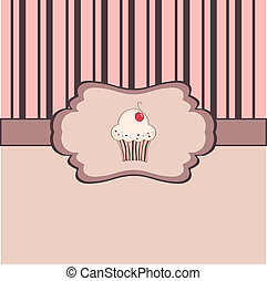 Vintage frame with cupcake
