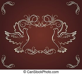 Vintage frame with doves