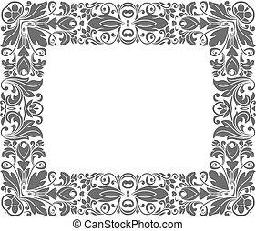 Vintage frame with floral elements