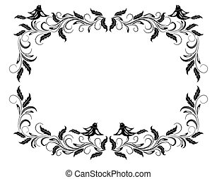 Vintage frame with floral ornament and pigeon birds for...