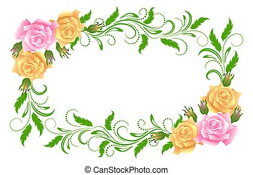 Vintage frame with floral ornament and roses for greeting...