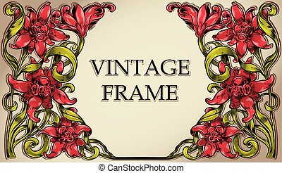 Vintage frame with flowers.